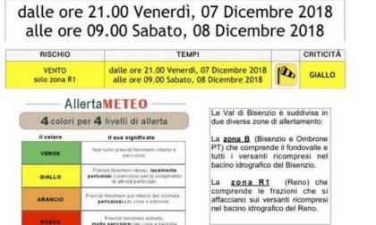 Avviso meteo: codice giallo stasera e domani