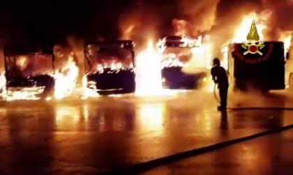 Incendio all'interno di un deposito: otto autobus distrutti GUARDA LE FOTO E IL VIDEO