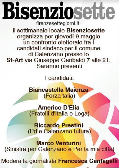 Bisenziosette organizza il confronto tra i candidati sindaco di Calenzano