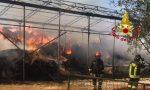 Capannoni in fiamme a Monteriggioni