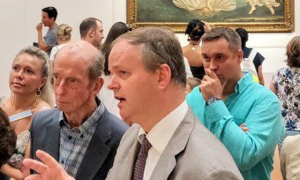 Il principe Edward duca di Kent oggi in visita agli Uffizi