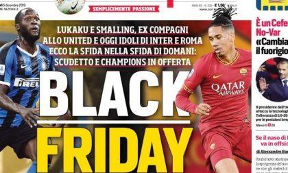 Il CorSport titola «Black Friday» con Lukaku e Smalling, la Fiorentina prende le distanze