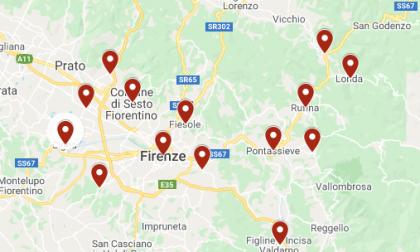Covid-19: la mappa dei contagi di ieri nella zona fiorentina