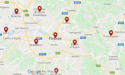 Coronavirus: ecco la mappa dei casi di ieri in Toscana centro
