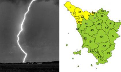 Codice giallo per pioggia e temporali fino alla mezzanotte di mercoledì 23